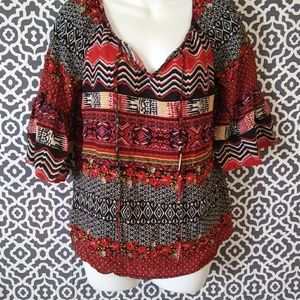 Cato Multi Printed Bell Sleeve Blouse Size small